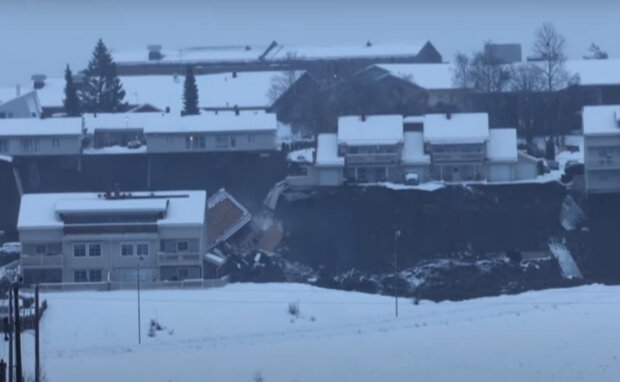 Оползень в Норвегии. Фото: скриншот YouTube-видео.