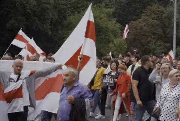 Протесты в Минске 23 августа. Фото: скриншот YouTube
