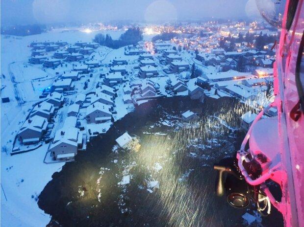 Оползень в Норвегии. Фото: twitter